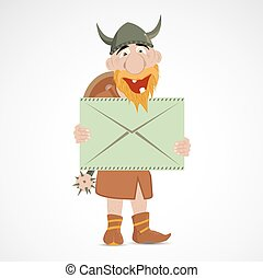 Funny cartoon viking with letter in envelope