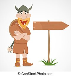 Funny cartoon viking with wooden road sign of directions