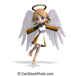 cute cartoon angel with wings and halo 3D rendering with...