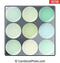 Colourful of Make Up Palette with green shades. Eyes or face...