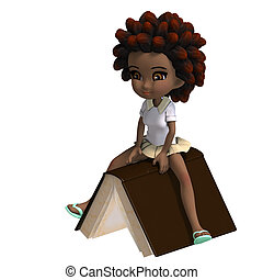 cute little cartoon school girl with curly hair is flying on...