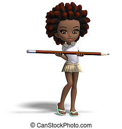 cute little cartoon school girl with curly hair 3D rendering...