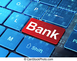 Banking concept: Bank on computer keyboard background