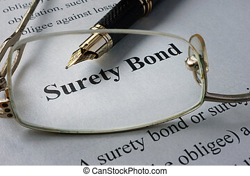surety bond - Page of newspaper with words surety bond.