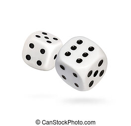 Falling dice, gambling scene