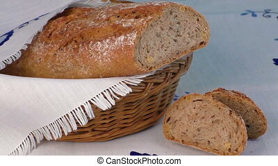 Bread in the basket with napkin - Rustic bread in the bakery...