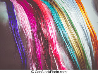 Colorful Synthetic Hair Strands Macro - Synthetic hair...