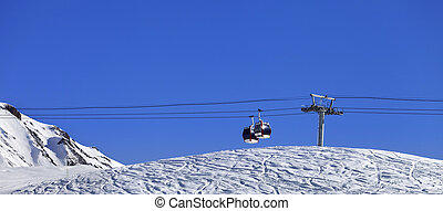 Panoramic view on gondola lift and ski slope Georgia, region...