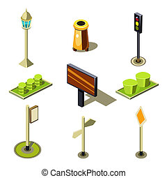 Flat 3d Isometric High Quality City Street Urban Objects...