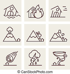 Natural Disaster Icons set line style