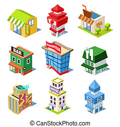 Set of the Isometric City Buildings and Shops - Set of the...