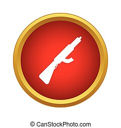 Assault rifle with silencer icon, simple style - Assault...