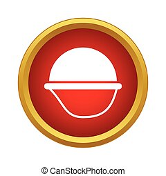Army helmet icon in simple style on a white background
