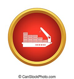 Cargo ship icon in simple style