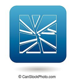 Broken glass icon in simple style - icon in simple style on...