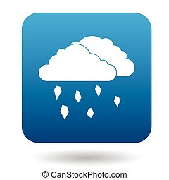 Clouds and hail icon in simple style - icon in simple style...