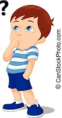 young boy thinking cartoon