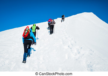 prominent group of tourists on a snowy mountain