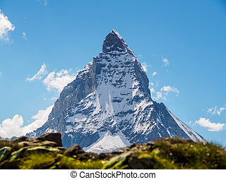 Matterhorn peak in sunny day view from gornergrat train...