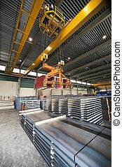 Handling Steel - Huge overhead crane, handling pallets...