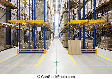 Ware-house - Warehouse with racks and shelves, filled with...
