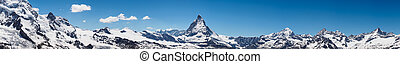 Panorama view of Matterhorn peak in sunny day from...