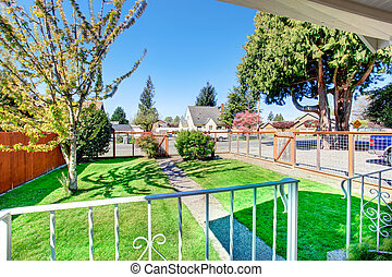 View of small front yard with narrow concrete walkway and green lawn.