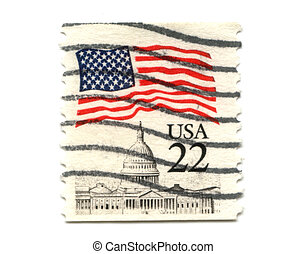 US postage stamp on white background 22c