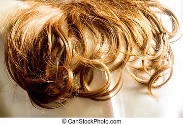 Synthetic Curly Hair Macro - Brown synthetic curly hair...