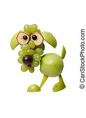 divertido, perro, hecho, de, verde, frutas, en, blanco,...