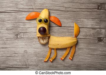 perro, hecho, de, frutas, en, de madera, tabla