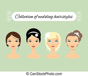 Set of different wedding hairstyles for bride - stock vector...