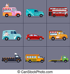 of various urban and city cars, vehicles - set of various...