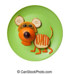 tigre, placa, hecho, verde, frutas