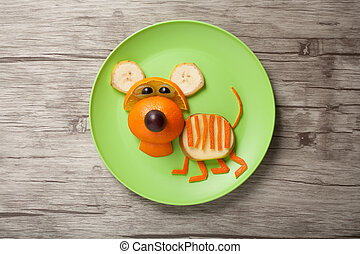 divertido, tigre, hecho, de, naranja, en, placa, y, tabla