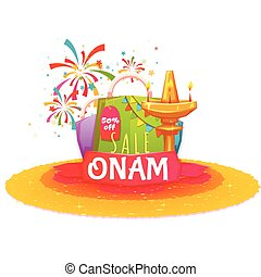 Onam holiday sale banner with ribbon. Vector illustration.