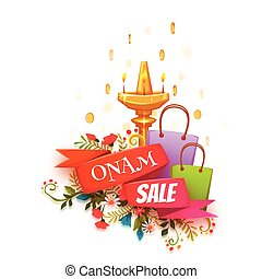 Onam holiday sale banner with ribbon. Vector illustration