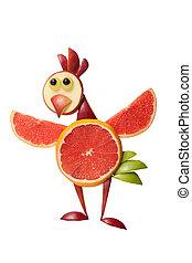 divertido, pollo, hecho, de, frutas, en, aislado, Plano de...