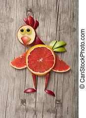 divertido, pollo, hecho, de, frutas, en, de madera, Plano de...