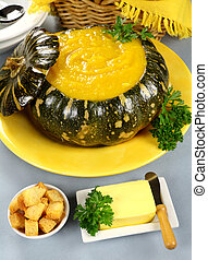 Pumpkin With Croutons - Delcious pumpkin soup in a pumkin...