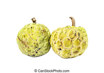 Two custard apple (Sugar-Apple, Annona, sweetsop) Isolate on...