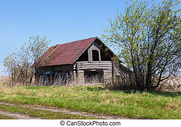 old wooden thrown house - old wooden thrown destroyed house