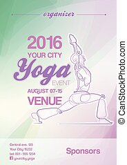Yoga Event Poster Blue-Green and Purple - EPS10: Poster mock...