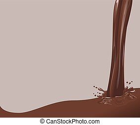 Hot Chocolate jet. Splash chocolate brown background....