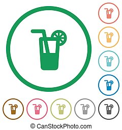 Longdrink outlined flat icons - Set of Longdrink color round...