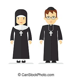 catholic priest and nun - Objects isolated on white...