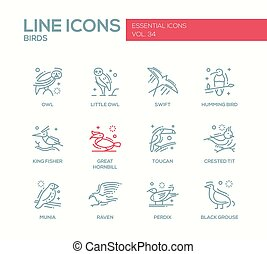 Birds - line design icons set - Birds - set of modern vector...