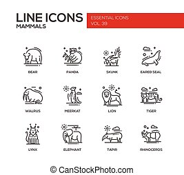 Mammals - line design icons set - Mammals - set of modern...