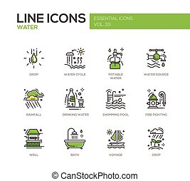 Water - line design icons set - Water - modern vector line...