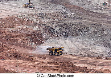 Large tank truck working at in coalmine.